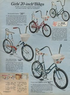 Girls bikes - 1971 Sears Christmas Catalog. OMG....my first bike except I had long tassels hanging from the handles and my bike was pink:) Love it!