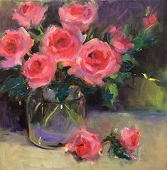 Rose Obsession by Laurie Johnson Oil ~ 12 x 12