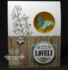 Peek-a-Boo Butterfly Card - Stamperdog - Stampin' Up - video tutorial in post - You're Lovely SAB stamps - Card Making Tips:     Whisper White: 4-1/4″ x 11″ folded in half to 4-1/2″ x 5-1/2″     Crumb Cake:  4-1/4″ x 2-1/2″     Daffodil Delight inside:  3-1/4″ x 5″ Butterfly is stamped with Pool Party ink on Pool Party card stock