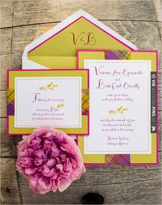 purple and pink wedding invites | VIA #WEDDINGPINS.NET