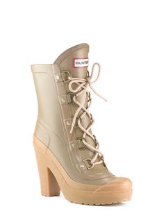 womans lace up high heel boots  rain boots  hunter boot