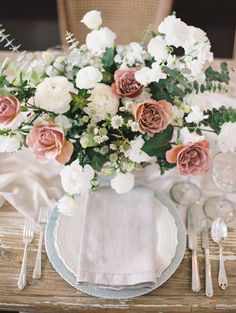 Romantic wedding table decor: http://www.stylemepretty.com/2017/04/03/the-playbook-for-adding-all-out-romance-to-your-wedding-day/ Photography: Valentina Glidden - http://valentinaglidden.com/
