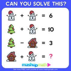 10 Free Christmas Math Activities for Your Kids — Mashup Math 3rd Grade Words, 1st Grade Math, Math Activities For Kids, Math Resources, Math Games, Christmas Math Worksheets, Christmas Maths, Logic Math, Daily Math