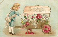 Christmas Wooden Sign~Red White Flower Wheelbarrow~Elizabethan Boy~Emb~Germany | eBay