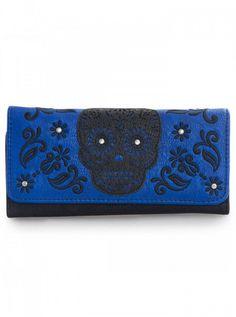 """Laser Cut Skull"" Wallet by Loungefly (Blue) | Inked Shop #inked #inkedshop #inkedmagazine #purse #bag #wallet"