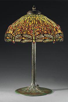 A DROPHEAD DRAGONFLY TABLE LAMP, CIRCA 1910