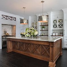 Kitchen Interior Remodeling Beautiful white kitchen with wood island, brushed nickel drum pendant lighting Wooden Kitchen, New Kitchen, Kitchen Dining, Kitchen Decor, Kitchen Layout, Kitchen Ideas, Kitchen Centerpiece, Centerpiece Ideas, Dining Rooms
