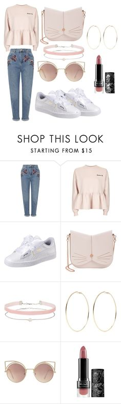 """Untitled #1729"" by carly-olly ❤ liked on Polyvore featuring Miss Selfridge, Topshop, Puma, Ted Baker, Kenneth Jay Lane, MANGO and Kat Von D"