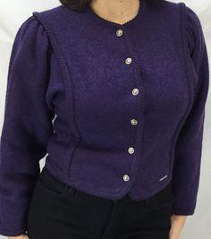 GEIGER Austria Boiled WOOL Cardigan Sweater JACKET 36 Small Gorgeous Purple #GEIGER #Cardigan