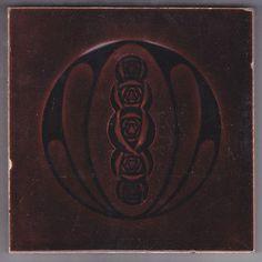 ANTIQUE Art Nouveau Majolica tile ONE OF A KIND Brown Carmine roses