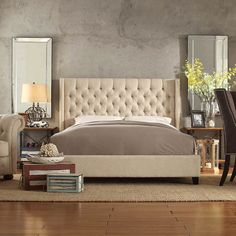 Inspire Q Naples Wingback Button Tufted Upholstered Queen-Sized... ($422) ❤ liked on Polyvore featuring home, furniture, beds, fabric headboard, upholstered queen bed, tufted fabric headboard, queen fabric headboard and upholstered tufted headboard