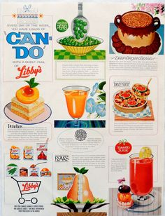 Vintage 1964 Libby's can food juice, fruit, vegetable advertisement print ad #Libby