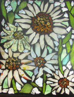 Flower Mosaic - Stained Glass SunCatcher or wall Decoration. Etsy.