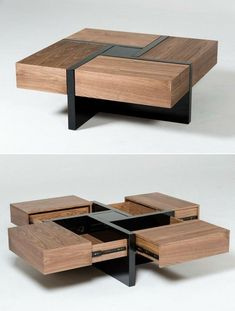 Lipscomb coffee table is highly functional combination of textures and design. With four concealed drawers, it provides ample storage. Coffee Table Design, Modern Square Coffee Table, Diy Coffee Table, Coffee Table With Storage, Square Tables, Coffee Coffee, Wood Table Design, Wooden Coffee Tables, Coffee Cake