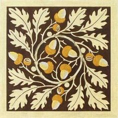 Vintage Acorns And Oak Leaves Hand Painted Canvases Melissa Shirley Designs - Needlepoint Supplies Wool Applique, Applique Quilts, Acorn And Oak, Tree Quilt, Oak Leaves, Leaf Design, Quilting Designs, Fiber Art, Printmaking