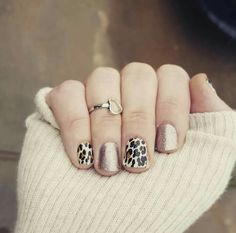 Fall nails, rose gold sparkle and natural leopard hkernes.jamberry.com