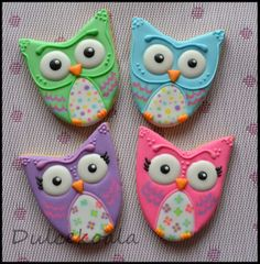 Dulcekoala ... Decorated Cookies and other sweets ...: OWLS DECORATED COOKIES