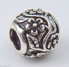 Forget Me Not Flower Silver Plate Large Hole European Bead NEW