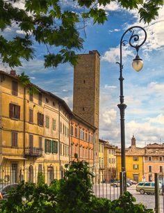 The Piazza Gabriotti and the City Tower in Citta di castello , Perugia province , Umbria region Italy