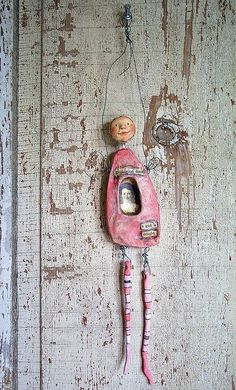 primitive, jointed, clay / polymer clay and ephemera art doll