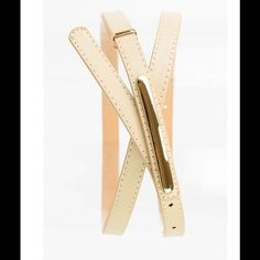 """Khaki Skinny Belt Khaki Skinny Belt. Great for tunics & dresses. Nude universal color to wear with anything. 42"""" Long. 10 size adjustment slots. A must have closet staple! Accessories Belts"""