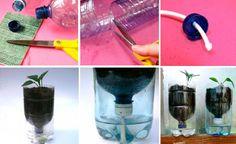 Três passos para fazer um vaso de planta de auto-rega com uma garrafa plástica