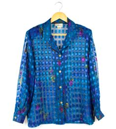 Long sleeve vintage sheer blue 80's/ 90's style by FannyAdamsVC, $25.00