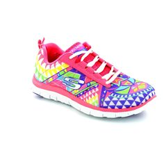 Get your ladies skechers trainers online now at Begg Shoes and Bags. Bright flex appeal lace up skechers: www.beggshoes.com  #flexappeal #skechers #sneakers #trainers #memoryfoam