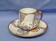Antique Continental Limoges China Cabinet Cup and Saucer #2 of 3