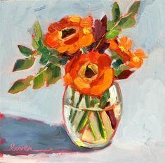 "Daily Paintworks - ""Orange Gerbers"" - Original Fine Art for Sale - © Martha Lever"