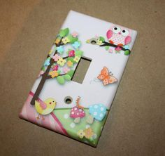 Yeah I know I'm not a little girl anymore, but these are too cute!    Owls Love Birdies Girls Bedroom Single Light Switch by ToadAndLily, $7.00