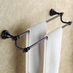 浴室二重タオルバー タオル掛け タオル収納 ハンガー バス用品 真鍮製 ORB