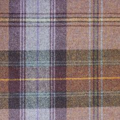 Beachcomber Tartan Fabric A pure wool tartan fabric woven in lilac and aubergine.