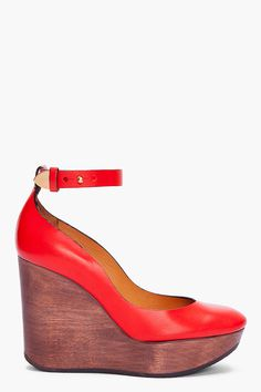 CHLOE Red Leather Wedges