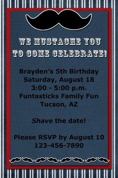 MUSTACHE Birthday Invitation - Save the Date