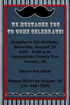 MUSTACHE Birthday Invitation -