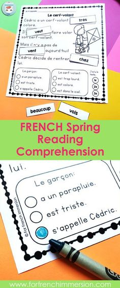 French Spring Reading Comprehension Worksheets: students cut and paste high-frequency words, answer multiple choice comprehension questions, and work on reading fluency! French Teaching Resources, Teaching French, Reading Resources, Teaching Ideas, Read In French, Learn French, Reading Comprehension Grade 1, Comprehension Questions, Vocabulary Practice