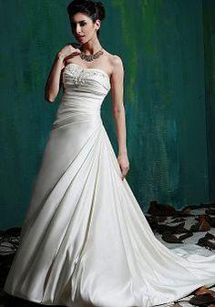 Timeless Sweetheart A line Satin Natural Waist Chapel Train Bridal Dresses - Lunadress.co.uk
