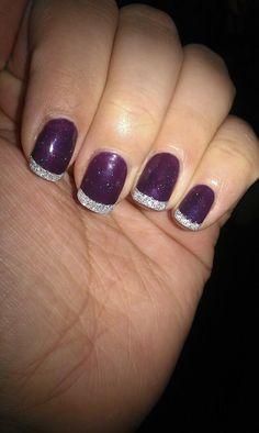 My shellac nails charlene purple silver Purple And Silver Nails, Plum Nails, Silver Nail Art, Glitter Nail Art, Silver Glitter, Silver Color, Purple Nails With Glitter, Purple Shellac Nails, Purple Wedding Nails
