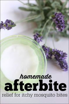 Homemade Afterbite (anti itch salve for mosquito bites) uses essential oils and baking soda. This has tea tree but I would add lavender. Mosquito Bite Relief, Mosquito Bite Itch, Itchy Mosquito Bites, Bug Bite Itch, Remedies For Mosquito Bites, Mosquito Spray, Treatment For Mosquito Bites, Bug Bite Relief, Homemade Cosmetics