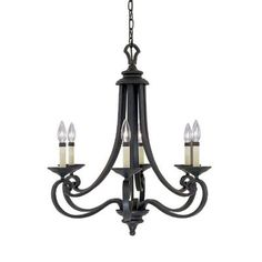Designers Fountain Monte Carlo 6-Light Hanging Natural Iron Chandelier-9036-NI - The Home Depot $229