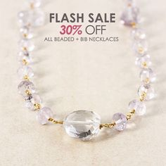 FLASH SALE! Starting today until Sept. 25 take 30% off our beaded and bib necklaces - the perfect accessory for your fall and winter sweaters. Shop with link in profile.  #flashsale #accessories #gemstones