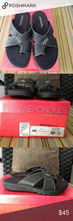 Aerosoles leather sandals Black sandals that are super comfortable and have memory foam for the extra comfort level AEROSOLES Shoes Sandals