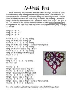 Rose Colored Glass Half Full: Accidental Heart Pattern #tatting #heart