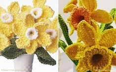 Crochet Daffodils Patterns are here for all spring lovers to enjoy! Is it any wonder that daffodils have inspired William Wordsworth? They are beautiful, evocative of spring, and quite unmistakable. Let them inspire you as well. They translate into crochet stitches very easily and can be turned just about into any form of crochet decoration or item. #crochetflower #crochetdaffodil #crochetdecor #crochetflowers #freecrochetpattern #crochetpattern Crochet Flower Tutorial, Crochet Flower Patterns, Easy Crochet, Crochet Flowers, Free Crochet, Crochet Appliques, Crochet Mittens, Crochet Beanie, Crochet Stitches