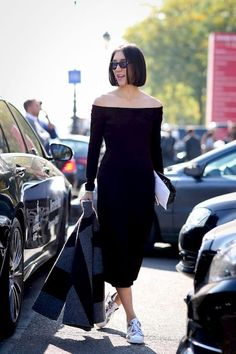 Street Style: How To Dress Down An Off-The-Shoulder Dress