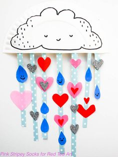 Ying and Bec Activities: Super cute Paper Plate Rain cloud - Show You with Love this Valentines Day. Or simply decorate a child's room. Oh so sweet. I do LOVE Paper Plate Crafts for Kids! Valentines Bricolage, Kinder Valentines, Valentine Crafts For Kids, Valentines Day Activities, Valentine Decorations, Paper Decorations, Crafts For 3 Year Olds, Paper Plate Crafts For Kids, Easy Crafts For Kids