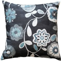 Bold light blue and rich white flowers contrast beautifully against the midnight blue background of this Shady Days Dark Throw Pillow. Floral Throw Pillows, Linen Pillows, Throw Pillow Sets, Decorative Throw Pillows, Outdoor Pillow Covers, Outdoor Throw Pillows, Dot And Bo, Midnight Blue, White Flowers