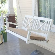 Matera Crossback Painted Wood Porch Swing - White - Porch Swings at Hayneedle