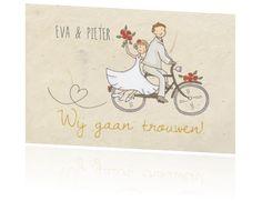 Trouwkaart met bruidspaar op fiets craft